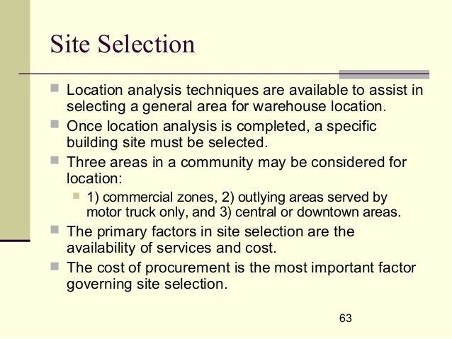 factors to consider in site selection