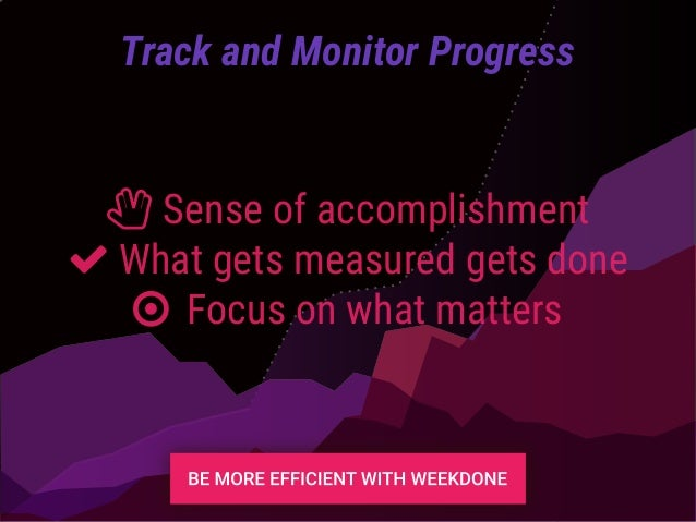 Track and Monitor Progress ȴ Sense of accomplishment What gets measured gets done ○ Focus on what matters