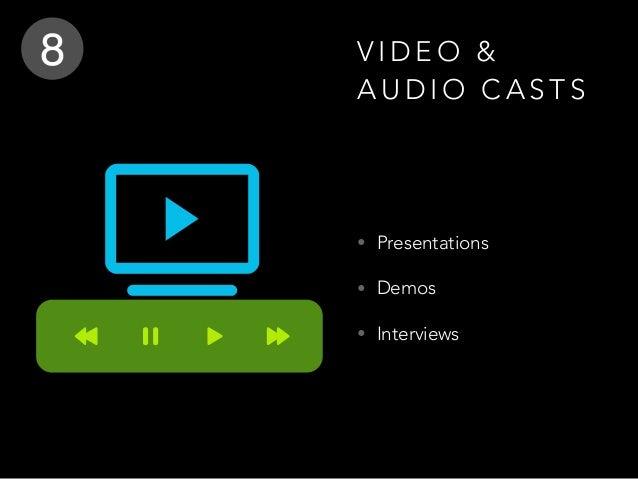 V I D E O & A U D I O C A S T S • Presentations • Demos • Interviews 8