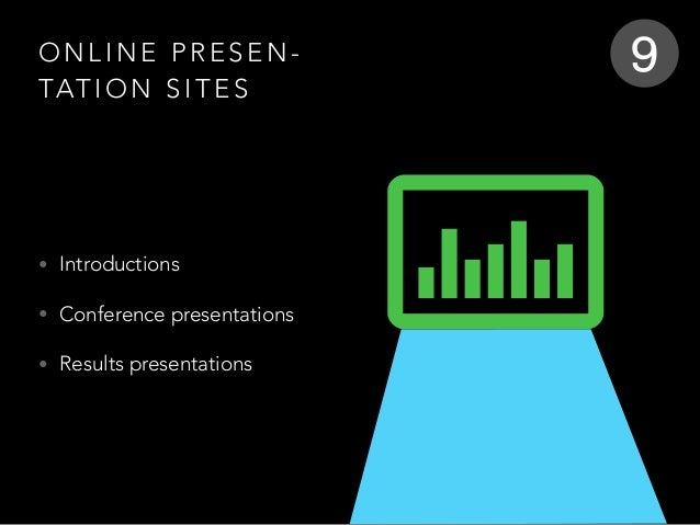 O N L I N E P R E S E N - TAT I O N S I T E S • Introductions • Conference presentations • Results presentations 9