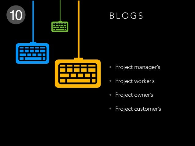 B L O G S • Project manager's • Project worker's • Project owner's • Project customer's 10