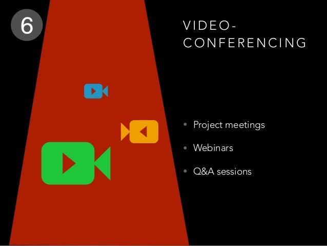 V I D E O - C O N F E R E N C I N G • Project meetings • Webinars • Q&A sessions 6