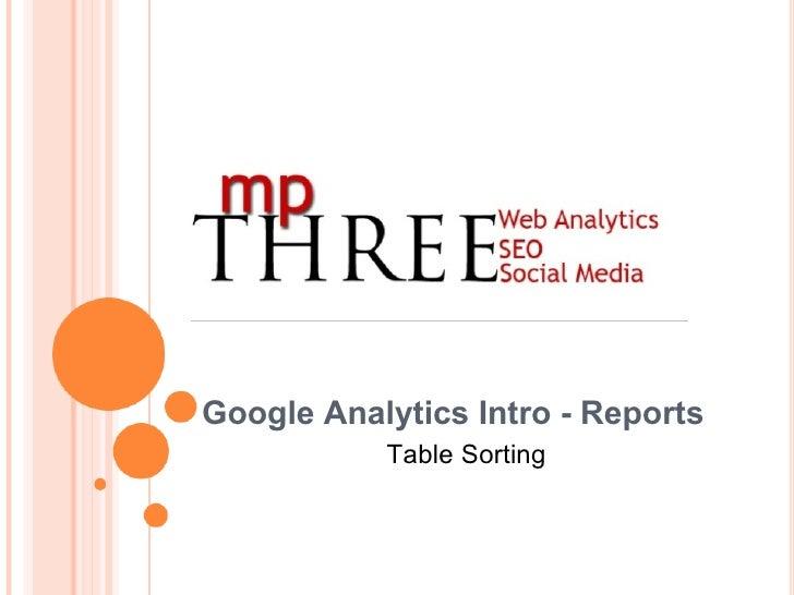 Google Analytics Intro - Reports Table Sorting