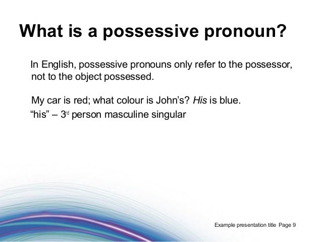 Foundations Of Grammar 10 What Are Possessive Adjectives