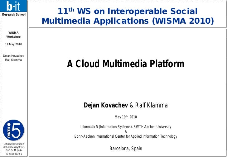 Research School                             11th WS on Interoperable Social                          Multimedia Applicatio...