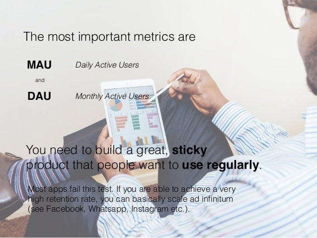 The most important metrics are Most apps fail this test. If you are able to achieve a very high retention rate, you can ba...