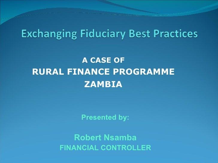 A case of rural finance programme - Zambia