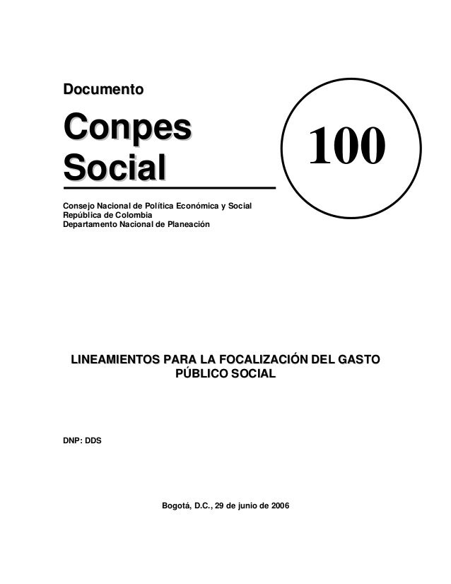 DDooccuummeennttoo CCoonnppeess SSoocciiaall Consejo Nacional de Política Económica y Social República de Colombia Departa...
