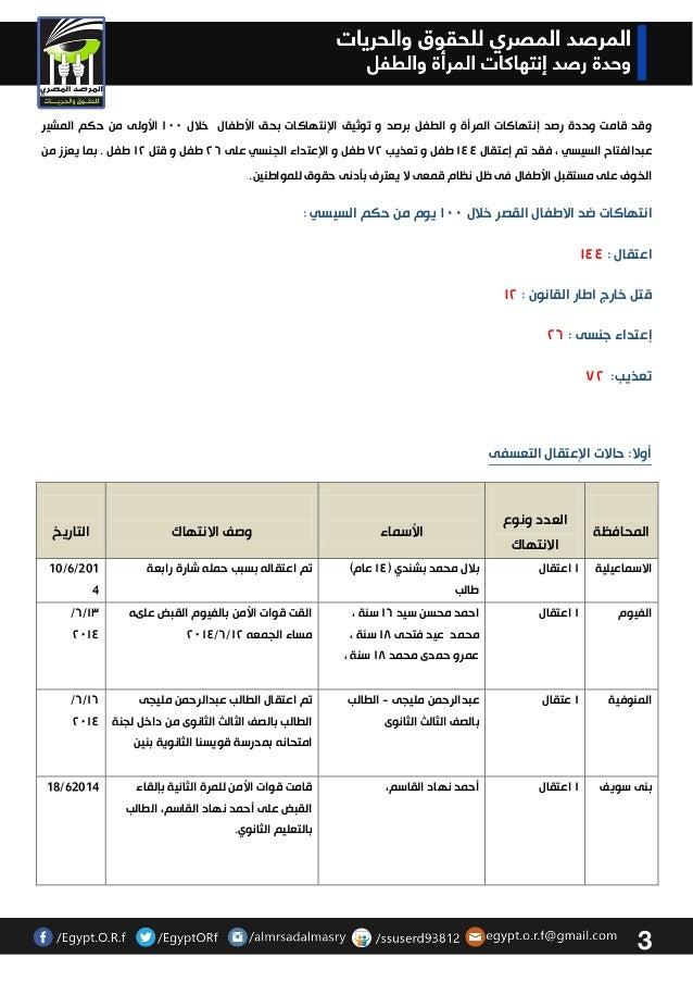 انتهاكات 100 يوم من حكم السيسي  بحق الطفل Slide 3