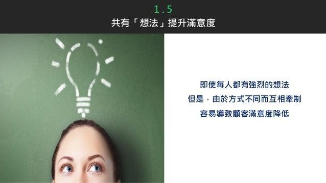 即使每人都有強烈的想法 但是,由於方式不同而互相牽制 容易導致顧客滿意度降低 1 . 5 共有「想法」提升滿意度