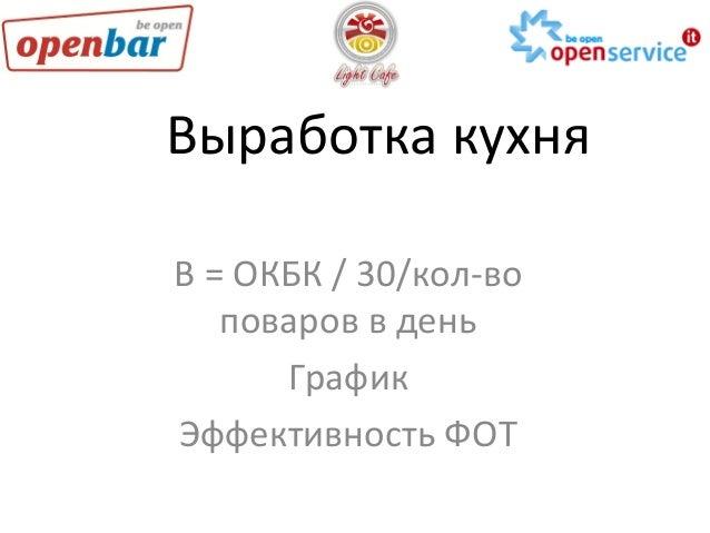 Выработка  кухня   В  =  ОКБК  /  30/кол-‐во   поваров  в  день   График   Эффективность  ФОТ