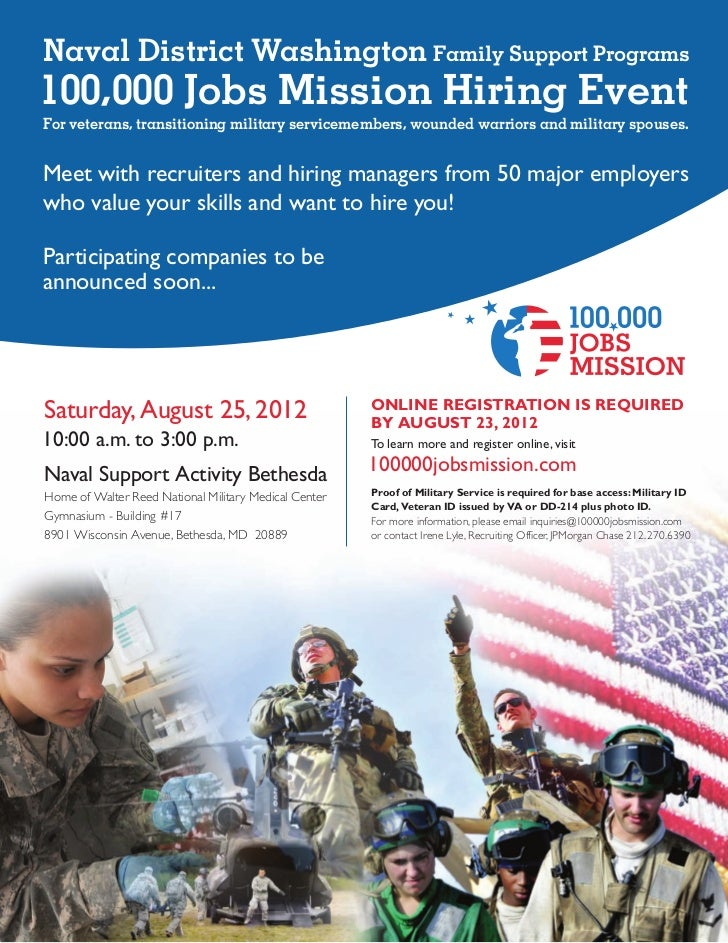 Naval District Washington Family Support Programs100,000 Jobs Mission Hiring EventFor veterans, transitioning military ser...