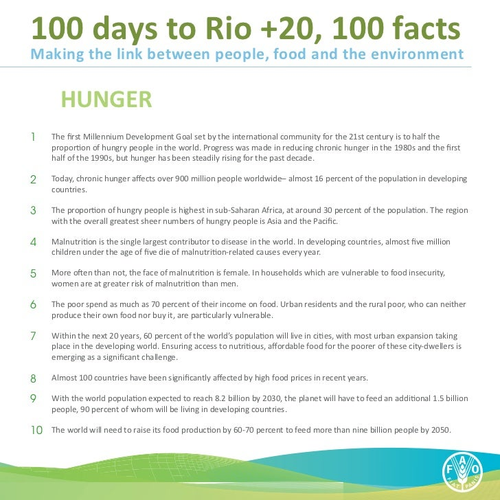 100 days to Rio +20, 100 factsMaking the link between people, food and the environment        HUNGER1   The first Millenn...