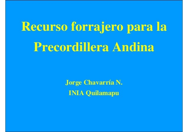 Recurso forrajero para la Precordillera Andina Jorge Chavarría N. INIA Quilamapu