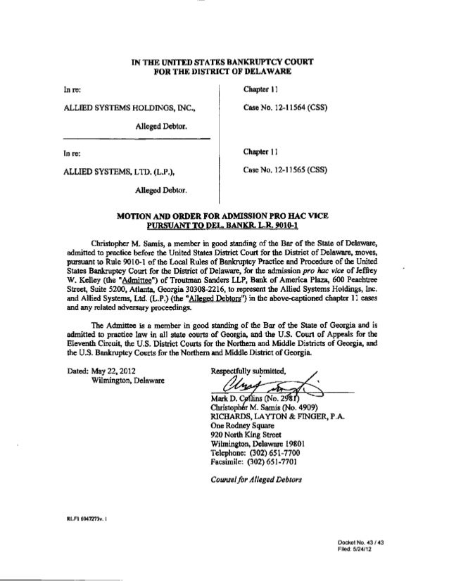 IN THE UNITED SIATES BANKRUPTCY COURT                           FOR THE DISTRICT OF DELAWAREIn re:                        ...