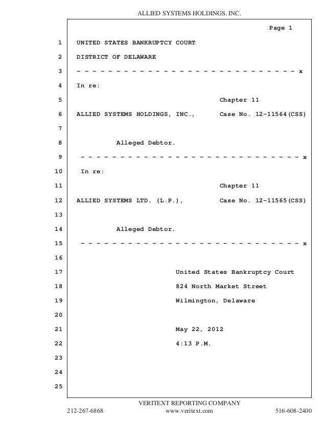 ALLIED SYSTEMS HOLDINGS, INC.                                                                Page 11       UNITED STATES B...