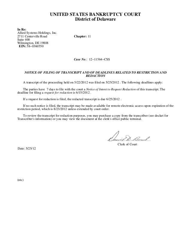 UNITED STATES BANKRUPTCY COURT                                  District of DelawareIn Re:Allied Systems Holdings, Inc.271...