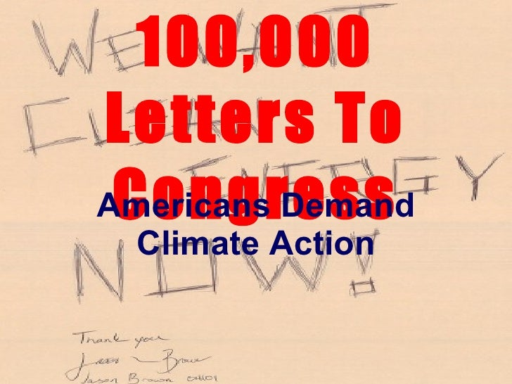 100,000 Letters To Congress Americans Demand Climate Action