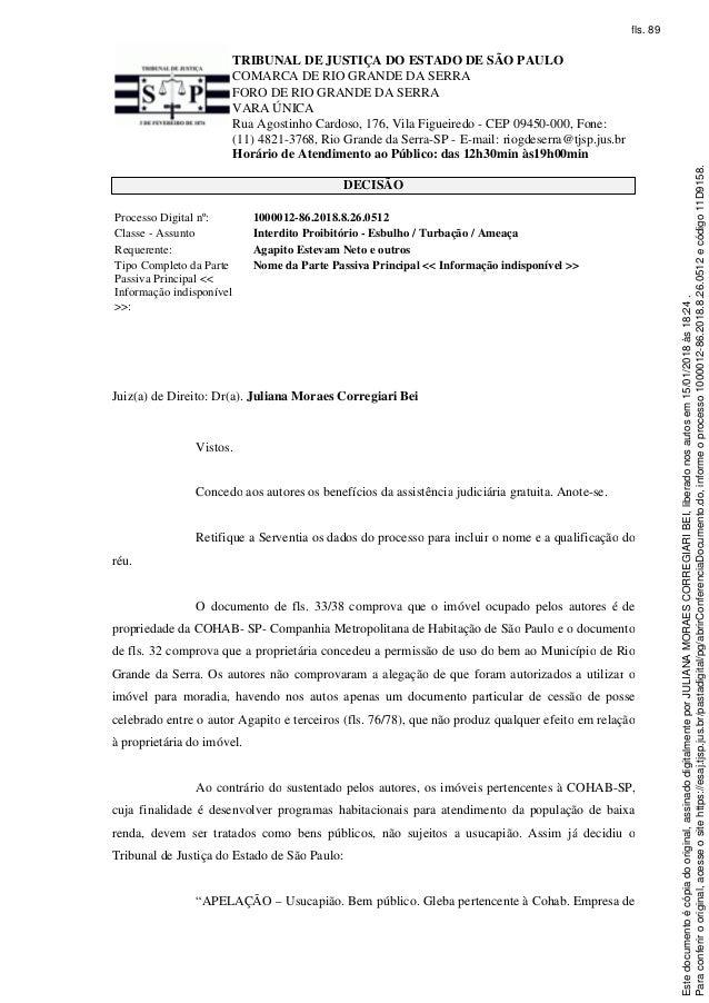 TRIBUNAL DE JUSTIÇA DO ESTADO DE SÃO PAULO COMARCA DE RIO GRANDE DA SERRA FORO DE RIO GRANDE DA SERRA VARA ÚNICA Rua Agost...