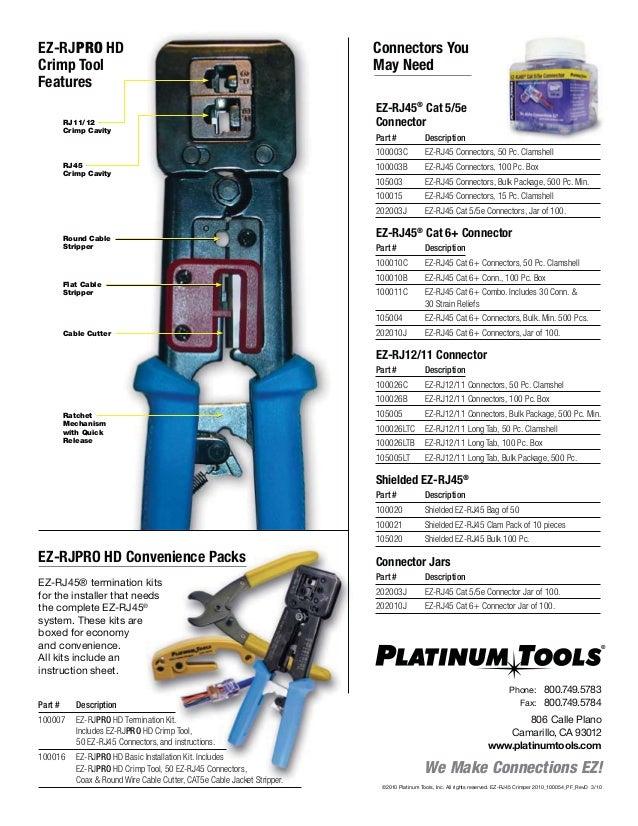 Platinum Tools 105003    EZ-RJ45 Cat5e Connector 500-Pack