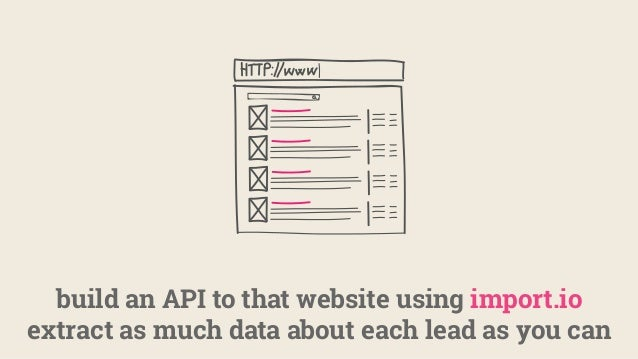 build an API to that website using import.io extract as much data about each lead as you can