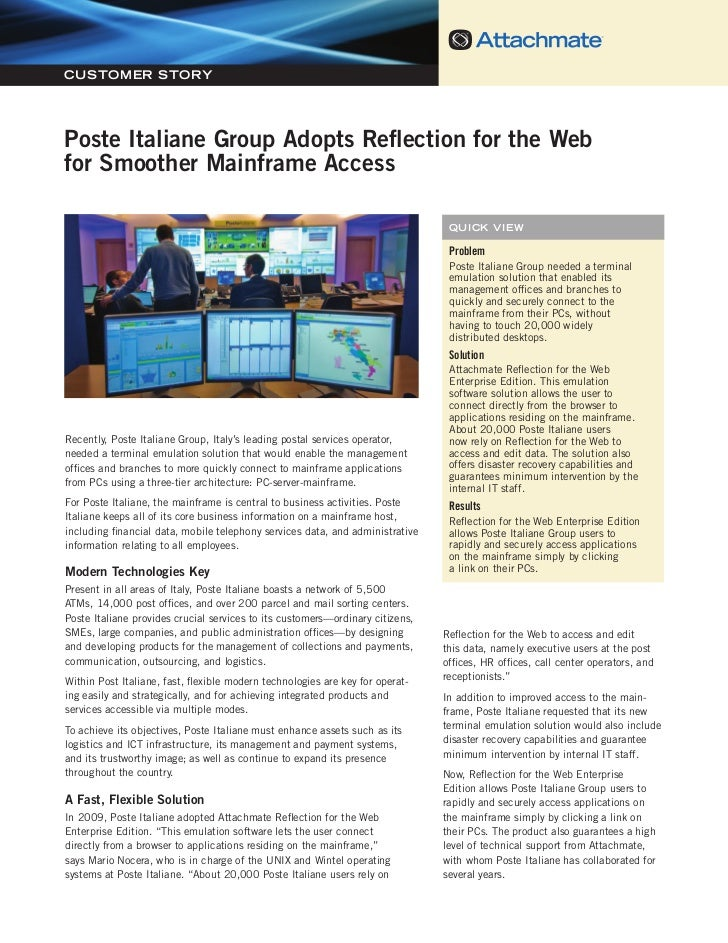 Poste Italiane Group Adopts Reflection for the Web for Smoother Mainframe AccessCUSTOMER STORYPoste Italiane Group Adopts ...