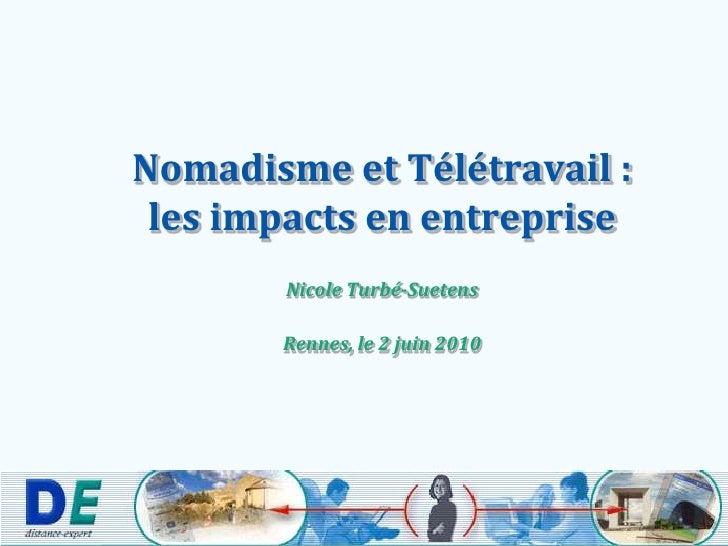 Nomadisme et Télétravail :les impacts en entreprise<br />Nicole Turbé-Suetens<br />Rennes, le 2 juin 2010<br />