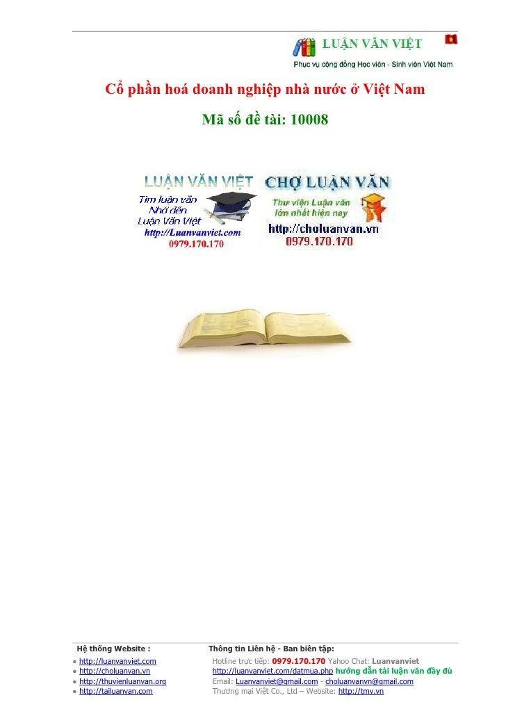 Cổ phần hoá doanh nghiệp nhà nước ở Việt Nam                                Mã số đề tài: 10008      Hệ thống Website :   ...
