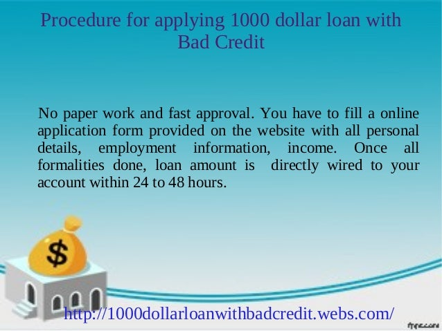 1000 dollar loans for bad credit