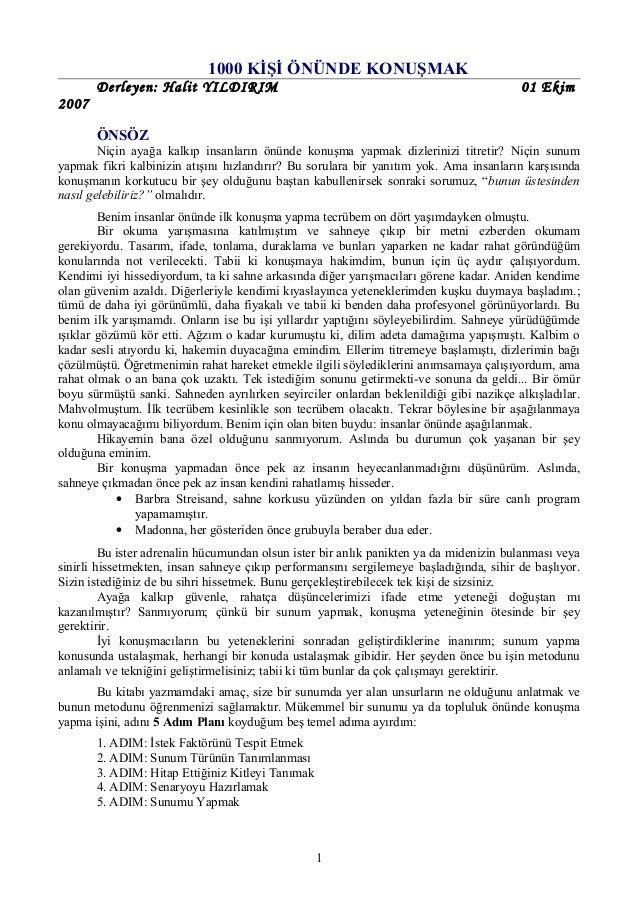 1000 KİŞİ ÖNÜNDE KONUŞMAK       Derleyen: Halit YILDIRIM                                                         01 Ekim20...