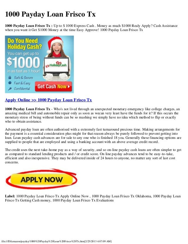 Payday Loans Frisco, TX