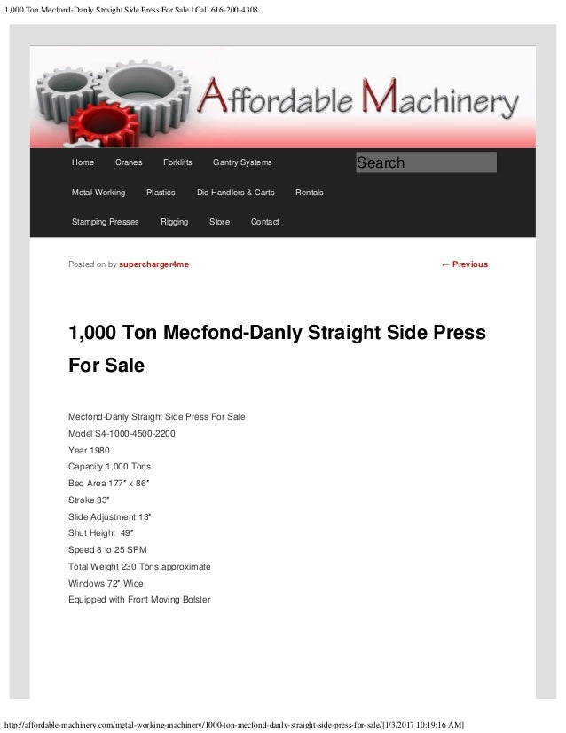1,000 Ton Mecfond-Danly Straight Side Press For Sale www