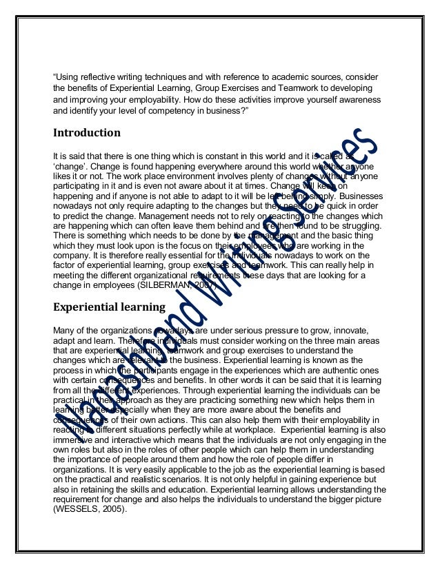 "word reflective essay corp  2 ""using reflective writing"