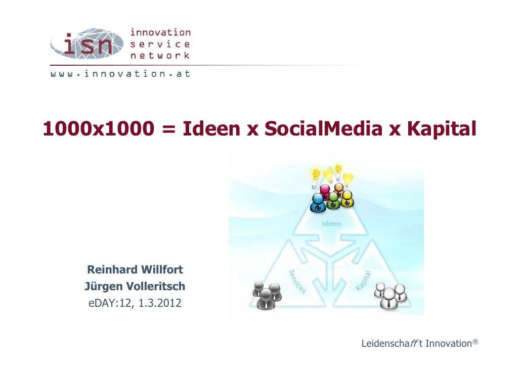 1000x1000 = Ideen x SocialMedia x Kapital    Reinhard Willfort    Jürgen Volleritsch     eDAY:12, 1.3.2012                ...