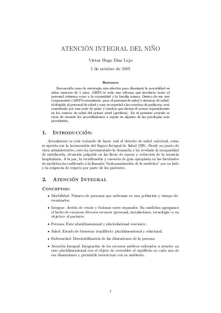 ATENCIÓN INTEGRAL DEL NIÑO                                  Víctor Hugo Díaz Lajo                                   1 de o...