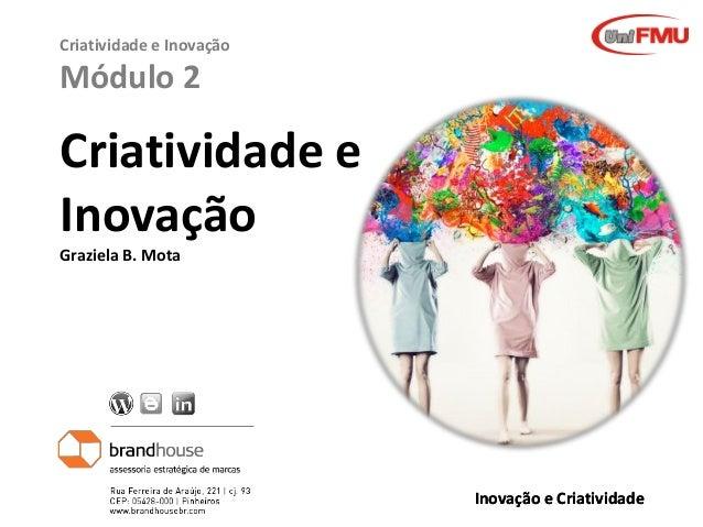 Criatividade e Inovação  Módulo 2  Criatividade e Inovação Graziela B. Mota  Graziela Mota  Inovação e Criatividade