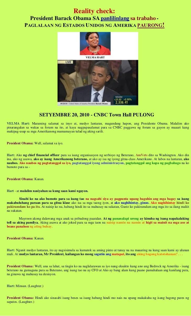 Reality check:              President Barack Obama SA panlilinlang sa trabaho -            PAGLALAAN NG ESTADOS UNIDOS NG ...