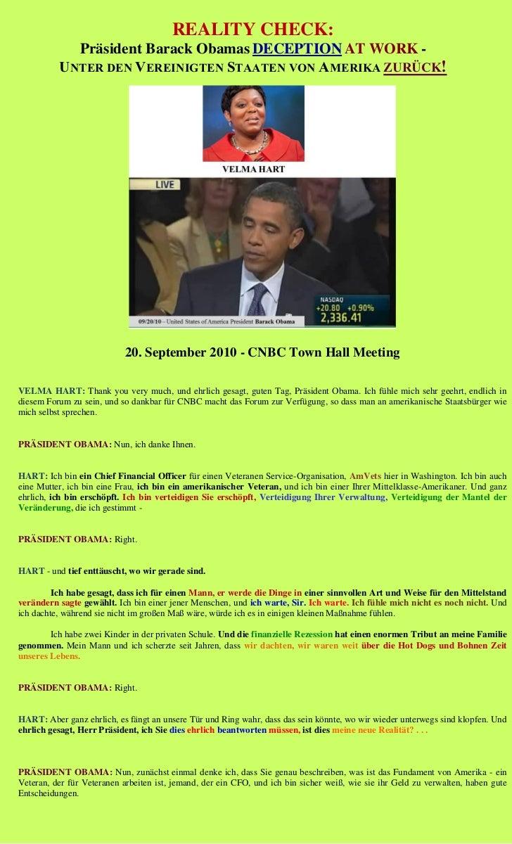 REALITY CHECK:            Präsident Barack Obamas DECEPTION AT WORK -          UNTER DEN VEREINIGTEN STAATEN VON AMERIKA Z...