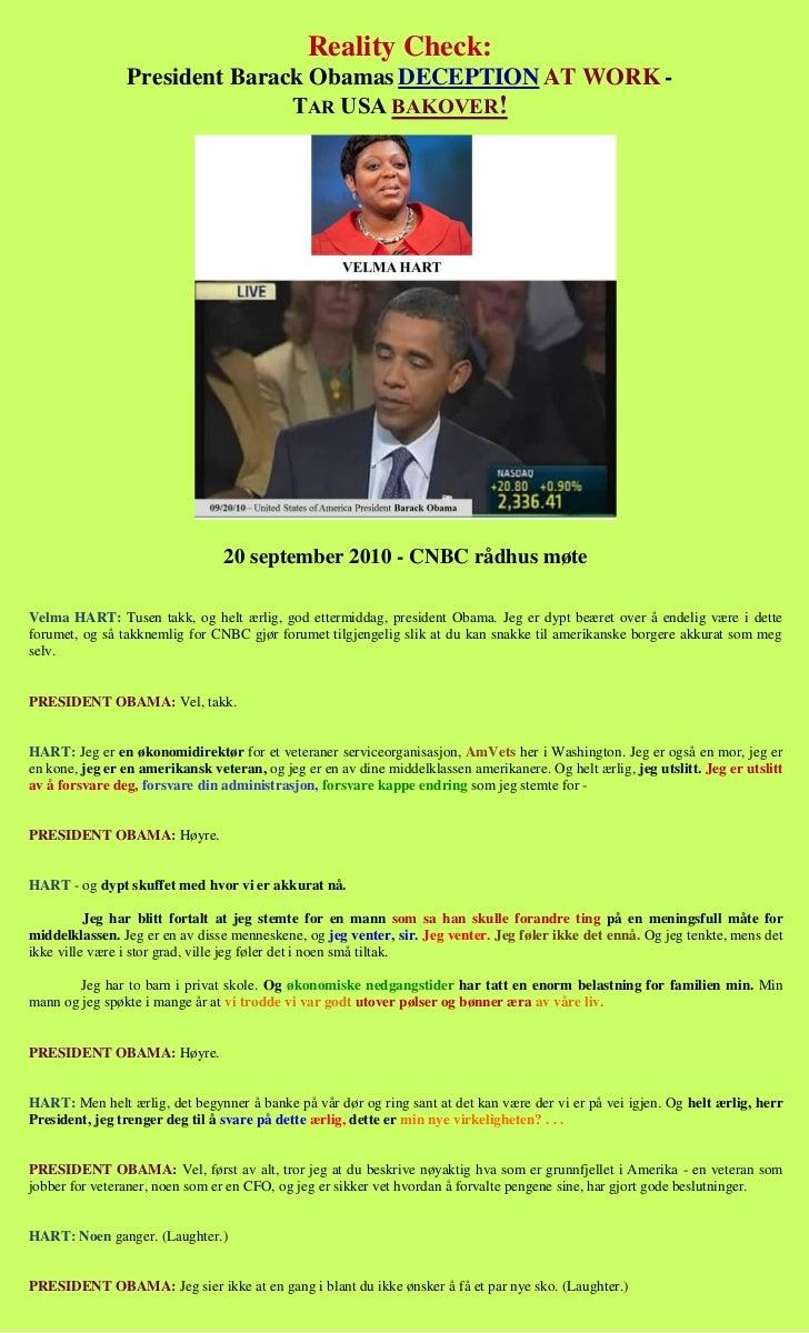 Reality Check:                President Barack Obamas DECEPTION AT WORK -                               TAR USA BAKOVER!  ...