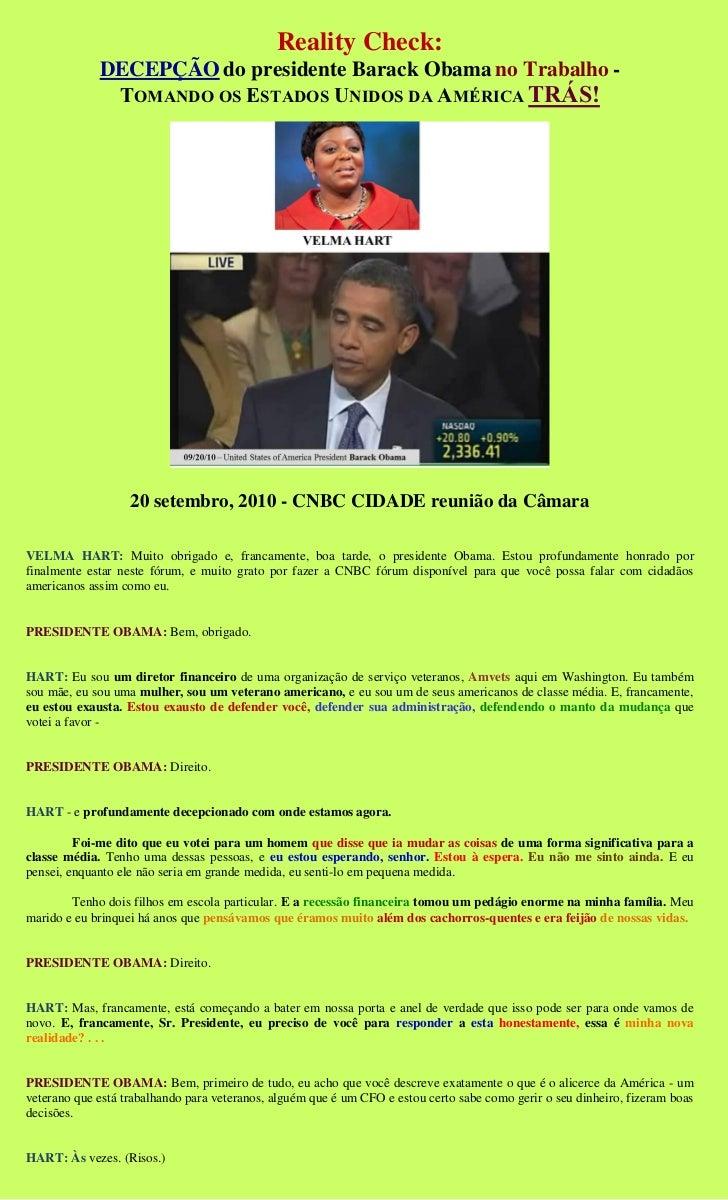 Reality Check:             DECEPÇÃO do presidente Barack Obama no Trabalho -              TOMANDO OS ESTADOS UNIDOS DA AMÉ...