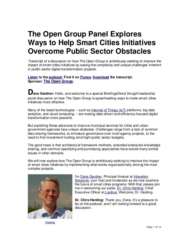 Page 1 of 16 The Open Group Panel Explores Ways to Help Smart Cities Initiatives Overcome Public Sector Obstacles Transcri...