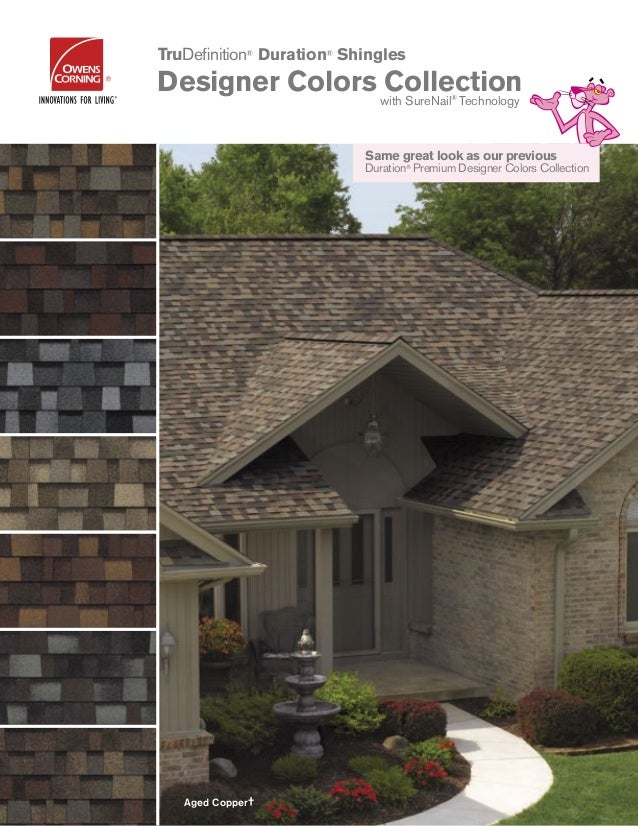 Same great look as our previous Duration® Premium Designer Colors Collection Aged Copper† TruDefinition® Duration® Shingles...