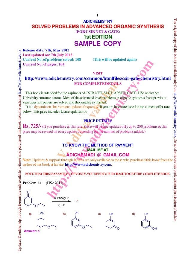 V.Adityavardhan http://www.adichemistry.com 1 Updates&onlinehelpthroughforumsareonlyavailabletothosewhopurchasedthisbookfr...