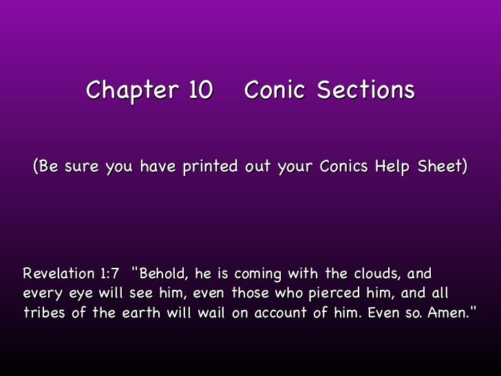 "Chapter 10             Conic Sections (Be sure you have printed out your Conics Help Sheet)Revelation 1:7 ""Behold, he is c..."