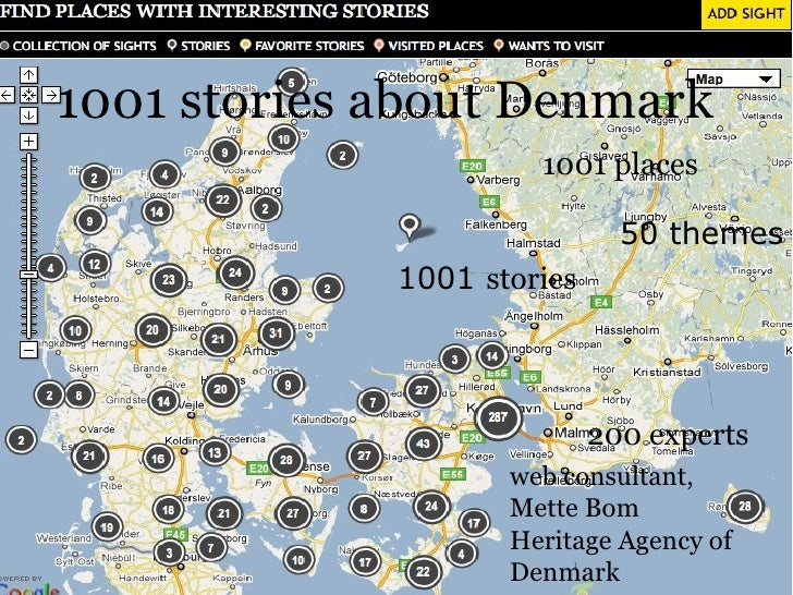 kort 1001 places 1001  stories 50 themes 200 experts 1001 stories about Denmark web consultant, Mette Bom Heritage Agency ...