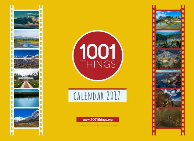 www.1001things.org Copyright 2017, Inspiria Knowledge Campus calendar 2017