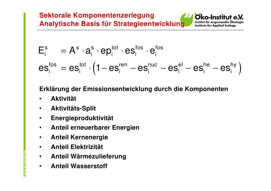Sektorale Komponentenzerlegung Analytische Basis für Strategieentwicklung   Eis         = A s ⋅ ais ⋅ epitot ⋅ esifos ⋅ ei...