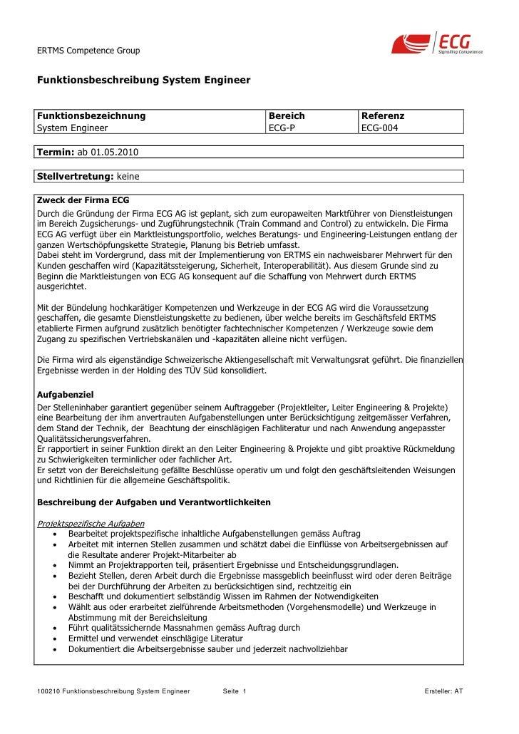 ERTMS Competence Group   Funktionsbeschreibung System Engineer   Funktionsbezeichnung                                     ...