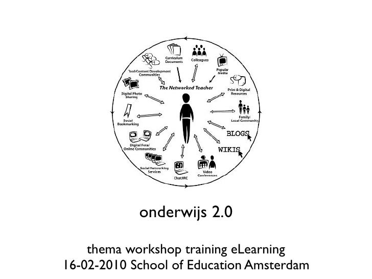 onderwijs 2.0      thema workshop training eLearning 16-02-2010 School of Education Amsterdam