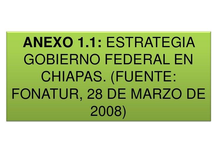 ANEXO 1.1: ESTRATEGIA GOBIERNO FEDERAL EN CHIAPAS. (FUENTE: FONATUR, 28 DE MARZO DE 2008)<br />